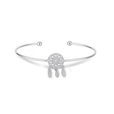 Karma Silver White Dreamcatcher Bangle  - Click to view larger image