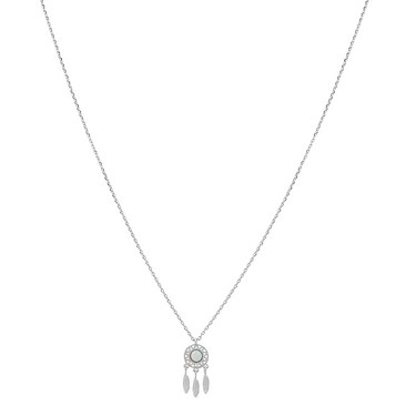 Karma Silver White Dreamcatcher Necklace  - Click to view larger image