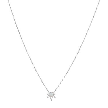 Karma Silver White Opal Geo Necklace  - Click to view larger image