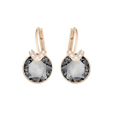 Swarovski Small Bella V Rose Gold & Grey Earrings  - Click to view larger image