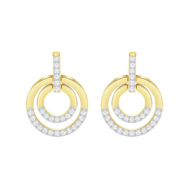 Swarovski Gold Crystal Circle Earrings  - Click to view larger image