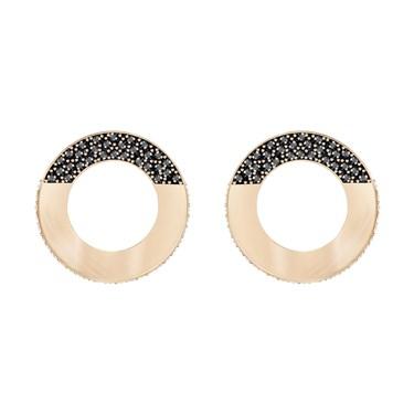 Swarovski Hoop Fever Rose Gold & Black Earrings  - Click to view larger image