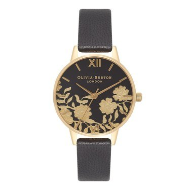 Olivia Burton Lace Detail Black & Gold Watch  - Click to view larger image