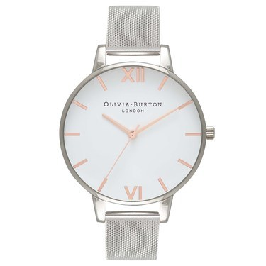 Olivia Burton Rose Gold & Silver Mesh Watch  - Click to view larger image