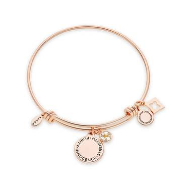 Karma April Birthstone Rose Gold Bangle   - Click to view larger image