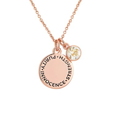 Karma April Birthstone Rose Gold Necklace   - Click to view larger image