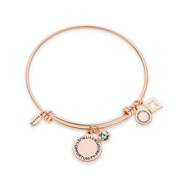 Karma August Birthstone Rose Gold Bangle   - Click to view larger image