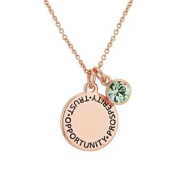 Karma August Birthstone Rose Gold Necklace   - Click to view larger image