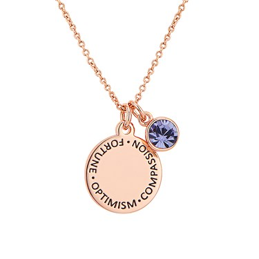 Karma December Birthstone Rose Gold Necklace   - Click to view larger image