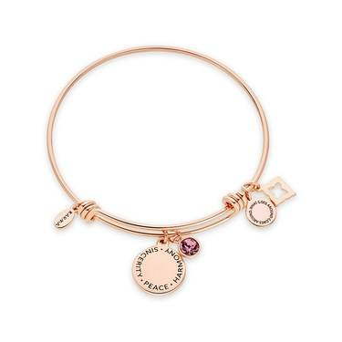 Karma February Birthstone Rose Gold Bangle   - Click to view larger image