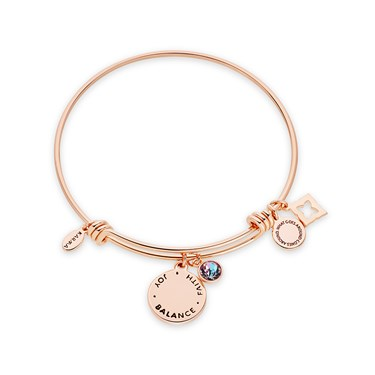 Karma June Birthstone Rose Gold Bangle   - Click to view larger image