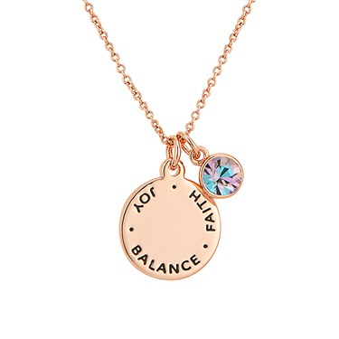 Karma June Birthstone Rose Gold Necklace   - Click to view larger image