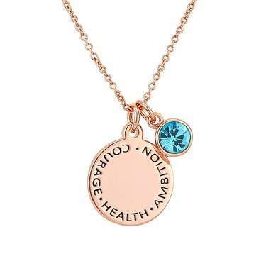 Karma March Birthstone Rose Gold Necklace   - Click to view larger image