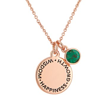 Karma May Birthstone Rose Gold Necklace   - Click to view larger image