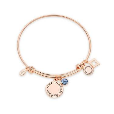 Karma September Birthstone Rose Gold Bangle   - Click to view larger image