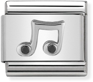 Nomination Silver Crystal Music Note Charm  - Click to view larger image