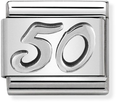 Nomination Oxidised Silver 50 Birthday Charm  - Click to view larger image