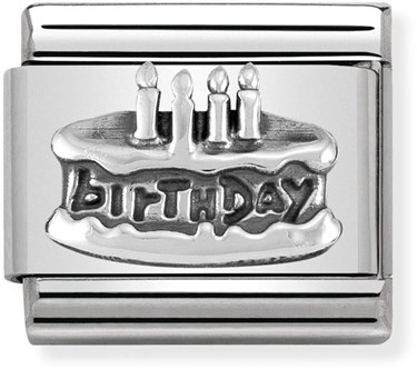 Nomination Silver Birthday Cake Charm  - Click to view larger image
