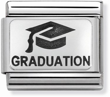 Nomination Silver Graduation Hat Charm  - Click to view larger image