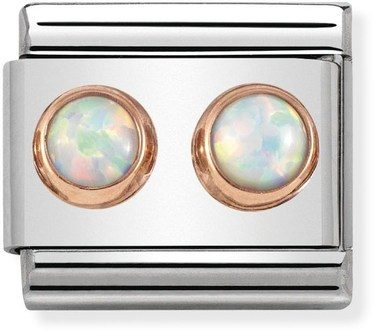 Nomination Rose Gold White Opal Double Stone Charm  - Click to view larger image