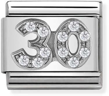 Nomination Silver Crystal 30 Birthday Charm  - Click to view larger image