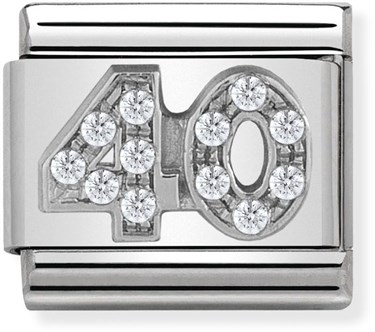 Nomination Silver Crystal 40 Birthday Charm  - Click to view larger image