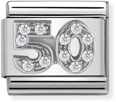 Nomination Silver Crystal 50 Birthday Charm  - Click to view larger image