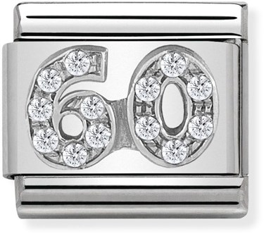Nomination Silver Crystal 60 Birthday Charm  - Click to view larger image