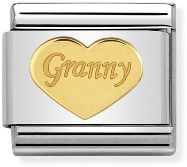 Nomination Gold Granny Heart Charm  - Click to view larger image