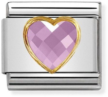 Nomination Pink & Gold Heart Charm  - Click to view larger image