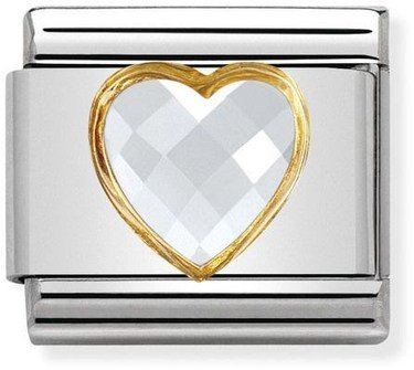 Nomination White & Gold Heart Charm  - Click to view larger image