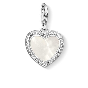 Thomas Sabo Mother of Pearl Heart Charm  - Click to view larger image