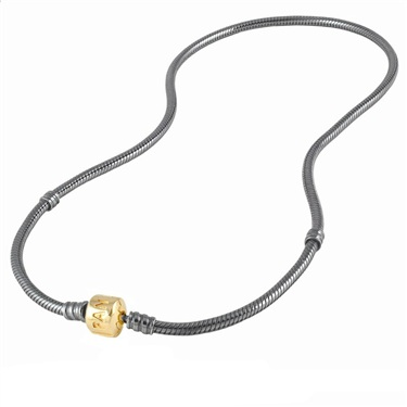 Pandora Oxidised Silver Necklace with Gold Clasp