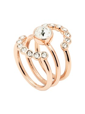 Ted Baker Rose Gold Cadyna Concentric Crystal Ring  - Click to view larger image