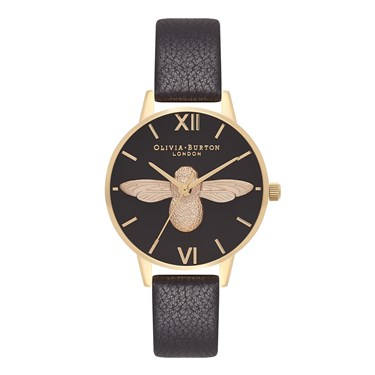 Olivia Burton Midi 3D Bee Black & Gold Watch  - Click to view larger image