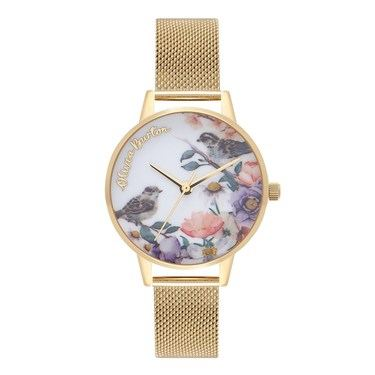 Olivia Burton English Garden Gold Mesh Watch  - Click to view larger image