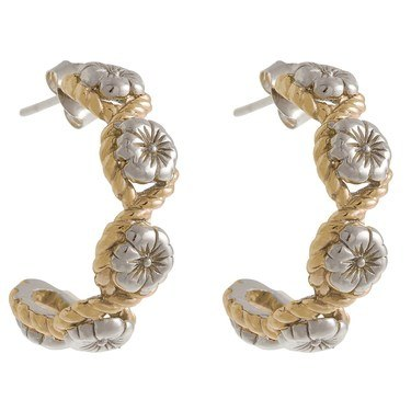 Olivia Burton Silver & Gold Floral Charm Hoop Earrings  - Click to view larger image
