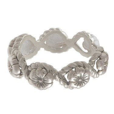 Olivia Burton Silver Floral Charm Ring  - Click to view larger image