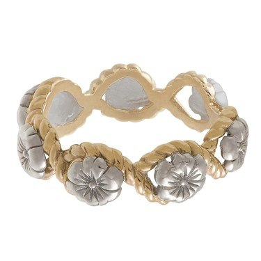 Olivia Burton Silver & Gold Floral Charm Ring  - Click to view larger image