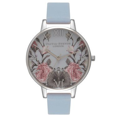 Olivia Burton Enchanted Garden Chalk Blue & Silver Watch  - Click to view larger image