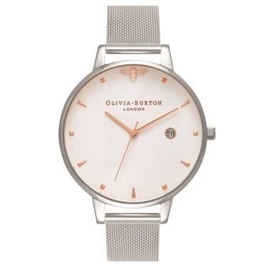 Olivia Burton Queen Bee Rose Gold & Silver Mesh  - Click to view larger image
