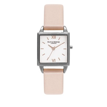 Olivia Burton Dusty Pink & Silver Square Dial Watch  - Click to view larger image