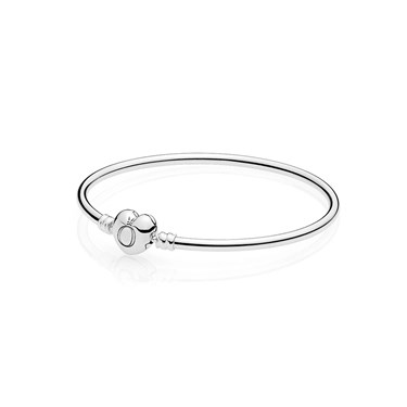 Pandora Moments Heart Clasp Silver Bangle   - Click to view larger image