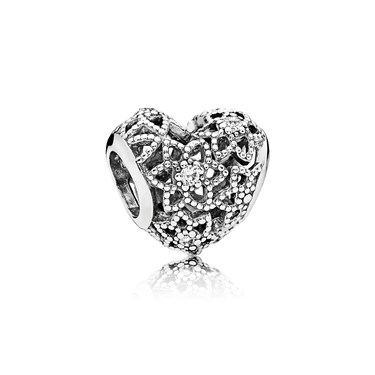 PANDORA Blooming Heart Charm  - Click to view larger image