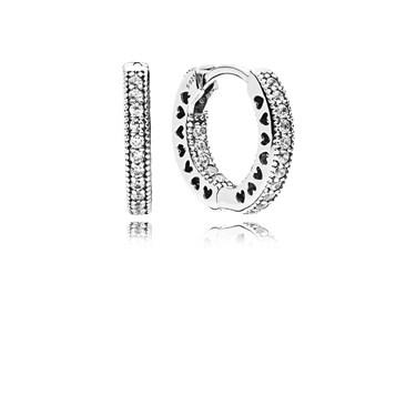 PANDORA Hearts of PANDORA Hoop Earrings  - Click to view larger image
