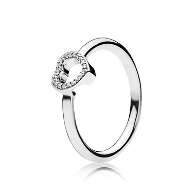 PANDORA Puzzle Heart Frame Ring  - Click to view larger image
