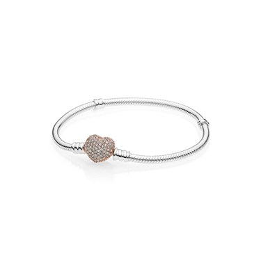 Pandora Moments Rose Pavé Heart Clasp Bracelet  - Click to view larger image