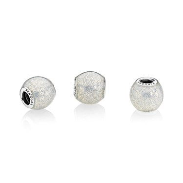 Pandora Silvery Glitter Ball Charm  - Click to view larger image