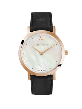 Larsson & Jennings  Bernadotte 33mm Black & Rose Gold Watch  - Click to view larger image