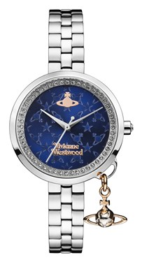 Vivienne Westwood Bow II Silver & Midnight Blue Watch  - Click to view larger image